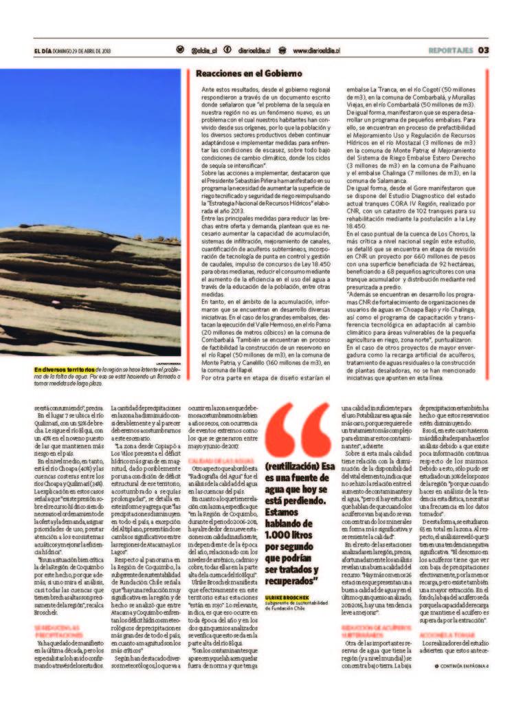 escasez de agua en la región Coquimbo
