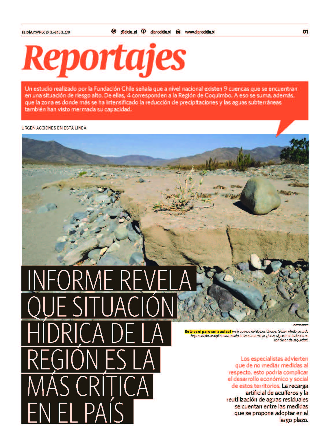 crisis hídrica de la región Coquimbo